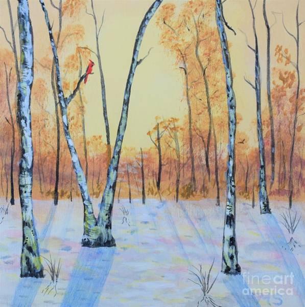 Photograph - Winter Birches-cardinal Left by Monika Shepherdson