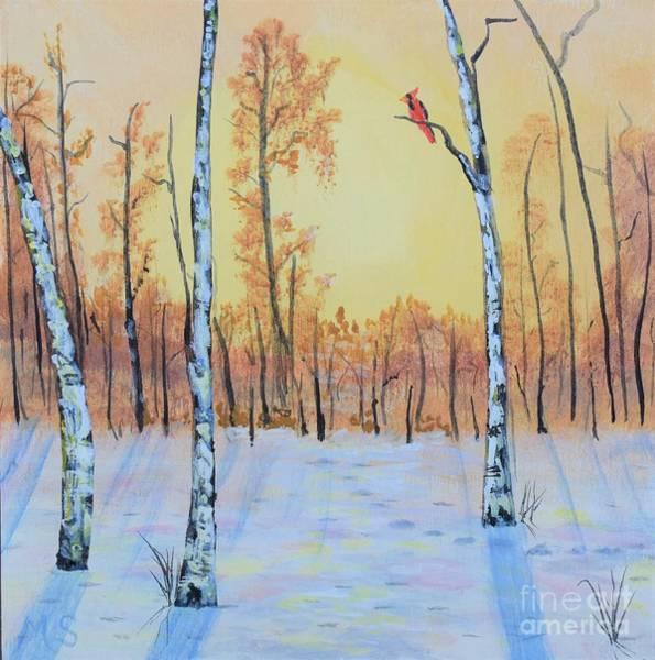 Painting - Winter Birches-cardinal Right by Monika Shepherdson