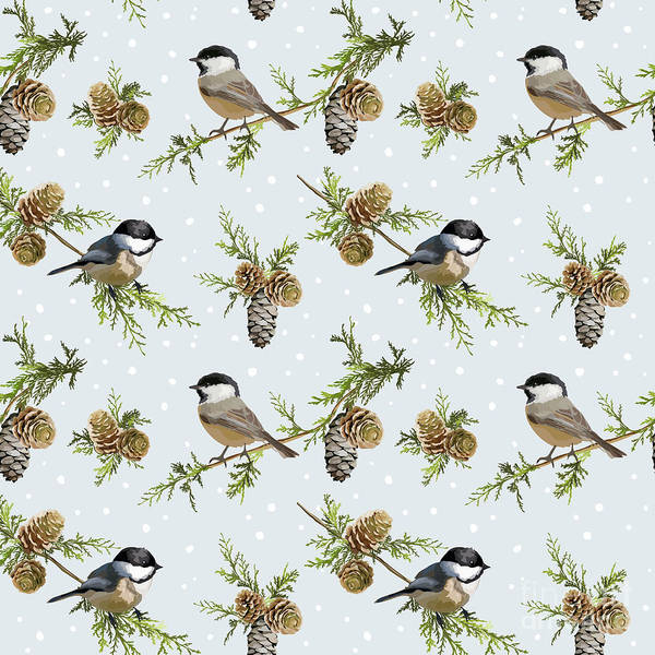 Wall Art - Digital Art - Winter Birds Retro Background - by Woodhouse