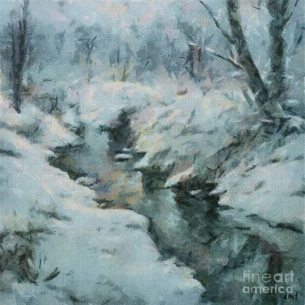Wall Art - Painting - Winter By The Stream by Dragica Micki Fortuna