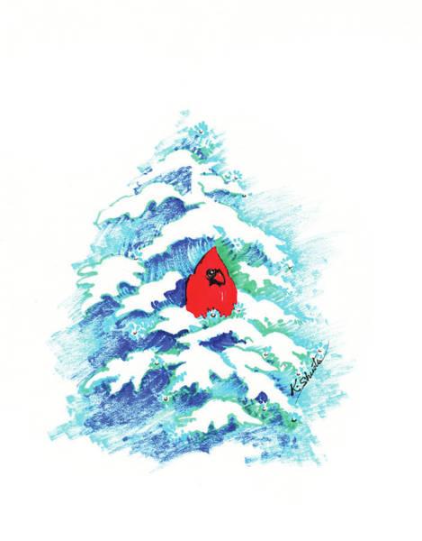Red Cardinal Drawing - Winter Cardinal by Kathy Shuster