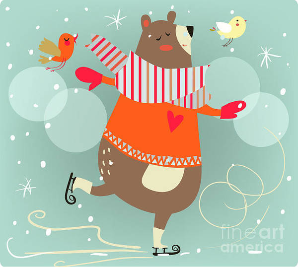 Wall Art - Digital Art - Winter Cartoon Bear by Elena Barenbaum