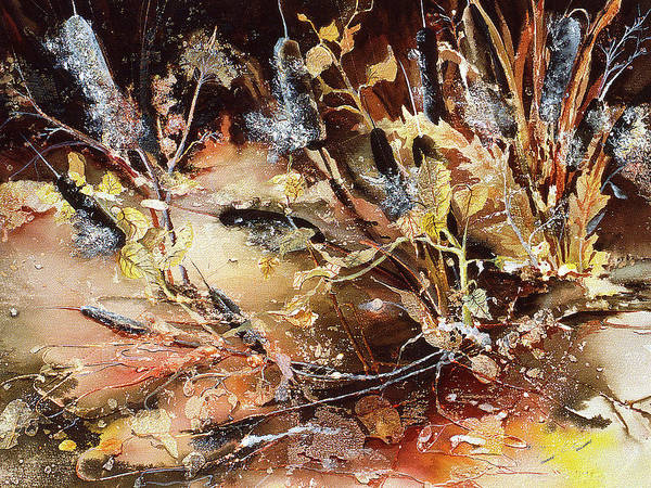 Painting - Winter Cattails by Connie Williams