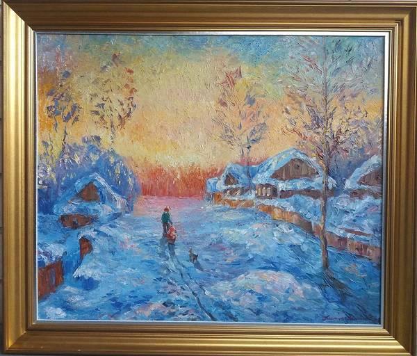 Wall Art - Painting - Winter Distance by Kateryna Kostiuk-Shostka