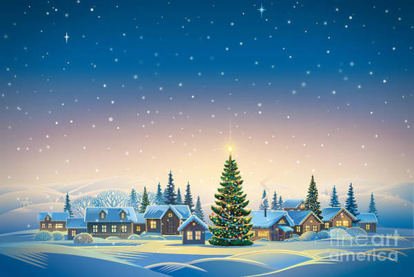 December Wall Art - Digital Art - Winter Festive Landscape With Village by Rustic