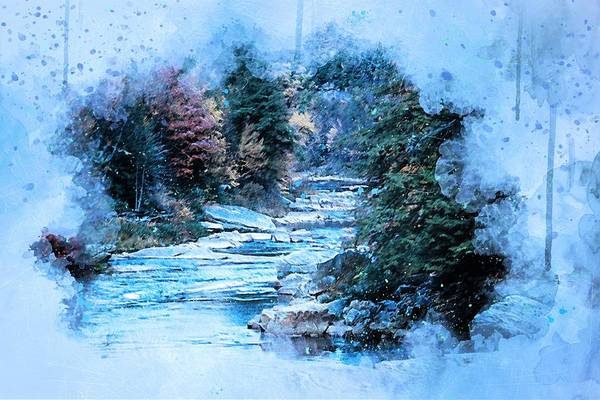 Wall Art - Painting - Winter Forest by ArtMarketJapan
