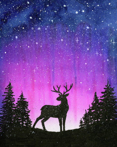 Constellation Wall Art - Painting - Winter Forest Galaxy Reindeer by Olga Shvartsur