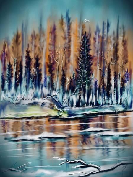 Digital Art - Winter Forest River by Darren Cannell