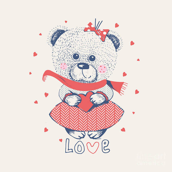 Winter Girl Bearhand Drawn Vector Art Print