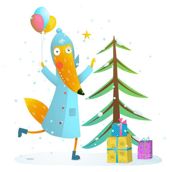 Present Wall Art - Digital Art - Winter Holiday Fox Celebrating With by Popmarleo
