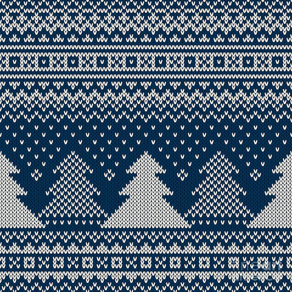 Wall Art - Digital Art - Winter Holiday Seamless Knitted Pattern by Atelier agonda