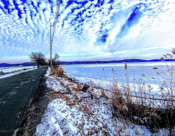 Photograph - Winter Hudson River Causeway by Roger Bester