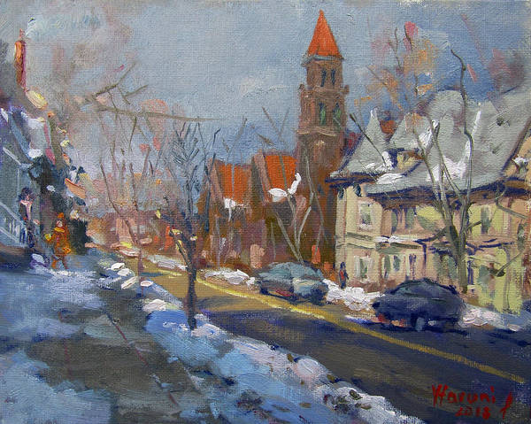 Wall Art - Painting - Winter In Elmwood Ave Buffalo Ny by Ylli Haruni