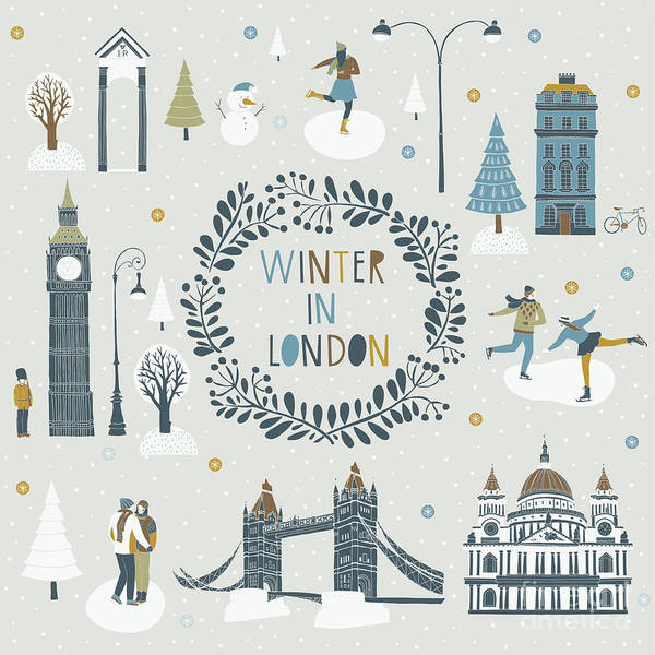 Wall Art - Digital Art - Winter In London by Lavandaart