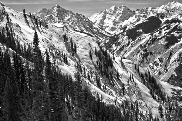 Photograph - Winter In The Maroon Bells Wilderness Black And White by Adam Jewell