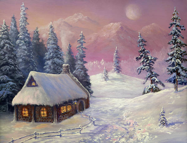 Chalet Digital Art - Winter In The Mountains by Pobytov
