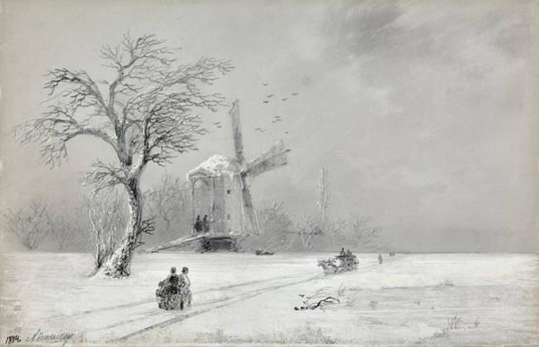 Ukraine Drawing - Winter In Ukraine by Ivan Konstantinovich Aivazovsky