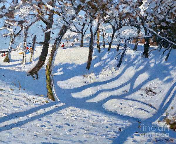 Wall Art - Painting - Winter Ladmanlow, Buxton, Derbyshire by Andrew Macara