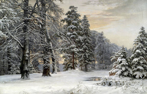 Wall Art - Painting - Winter Landscape At Early Morning by Anders Andersen-Lundby