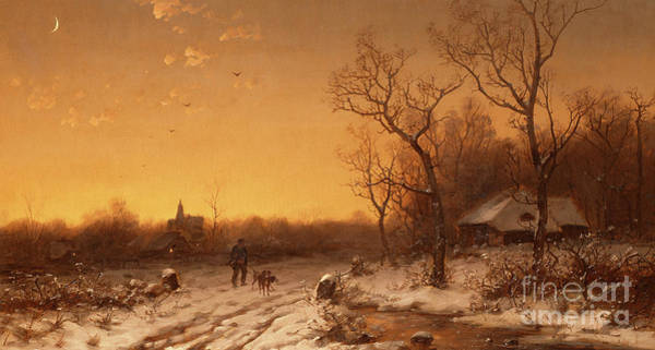 Wall Art - Painting - Winter Landscape At Sunset by V Biber