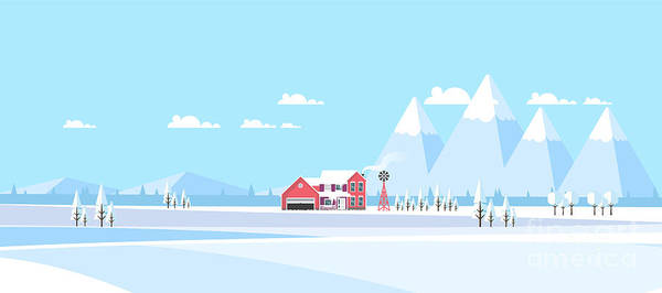 Wall Art - Digital Art - Winter Landscape Background.  Flat by Droidworker