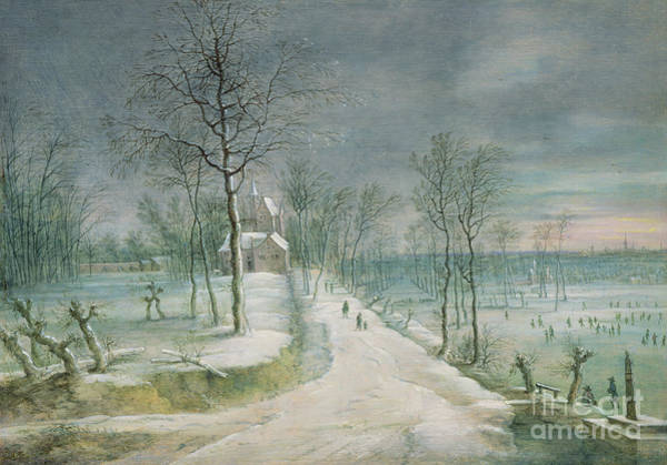 Figure Skater Painting - Winter Landscape By Lucas Van Uden by Lucas van Uden