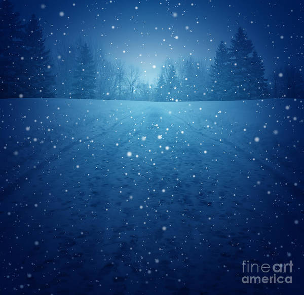 Winter Landscape Concept As A Snowing Art Print