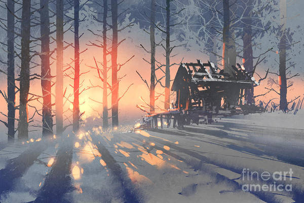 Wall Art - Digital Art - Winter Landscape Of An Abandoned House by Tithi Luadthong