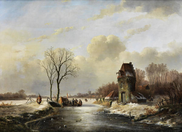 Painting - Winter Landscape On Frozen Lake by Jan Jacob Spohler