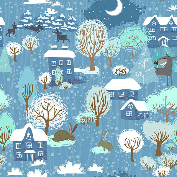 Celebration Digital Art - Winter Landscape Seamless Pattern by Liskus