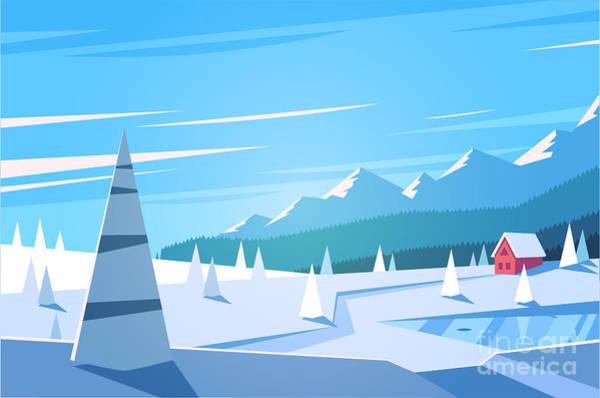 Wall Art - Digital Art - Winter Landscape. Vector Illustration by Doremi