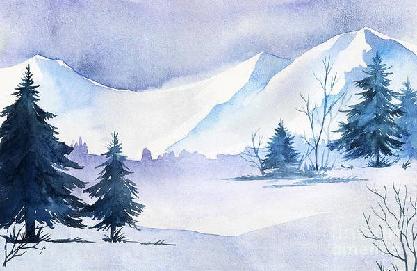 December Wall Art - Digital Art - Winter Landscape. Watercolor Landscape by Alexgreenart