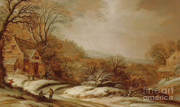 Wall Art - Painting - Winter Landscape With Cottages, 1625 by Pieter van Santvoort
