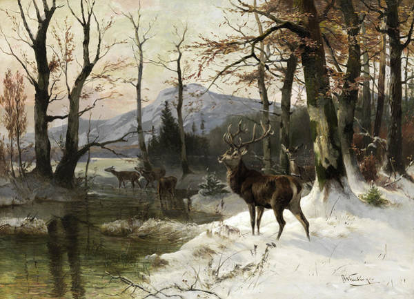 Wall Art - Painting - Winter Landscape With Deer by Anton Weinberger