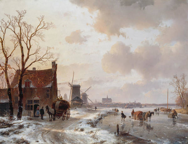 Figure Skater Painting - Winter Landscape With Horses On The Ice by Andreas Schelfhout