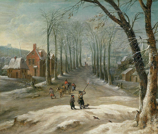 Painting - Winter Landscape With Men Fowling And Market Sellers by Frans de Momper