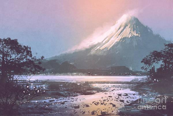 Mountain Lake Digital Art - Winter Landscape With Mountain Lake by Tithi Luadthong