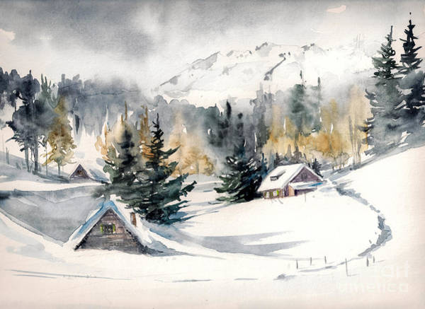 Wall Art - Digital Art - Winter Landscape With Mountain Village by Deepgreen