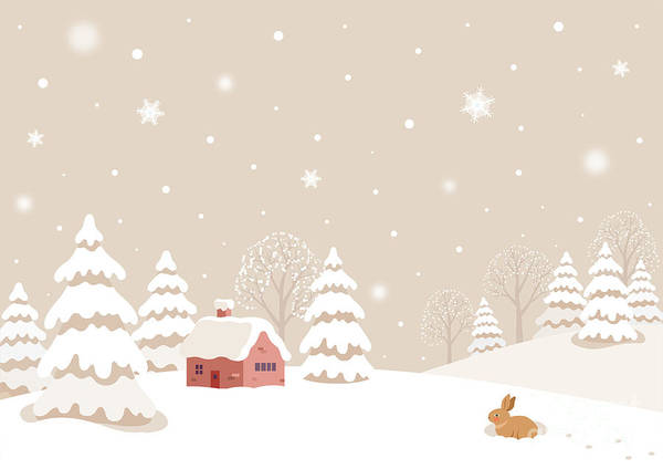 Wall Art - Digital Art - Winter Landscape With Rabbit by Soyon