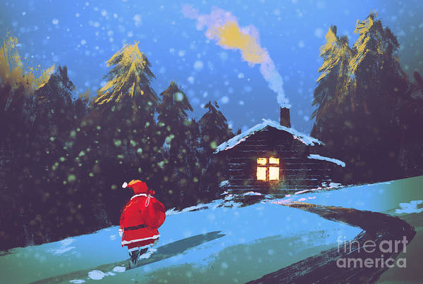 Wall Art - Digital Art - Winter Landscape With Santa Claus And by Tithi Luadthong