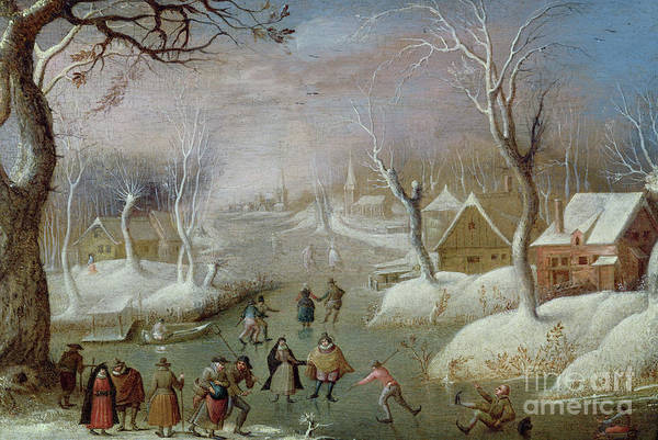 Figure Skating Painting - Winter Landscape With Skaters, 17th Century by Christoffel van den Berghe