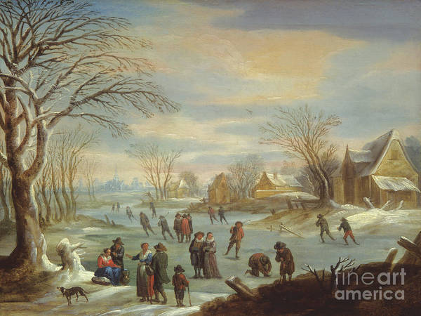 Figure Skater Painting - Winter Landscape With Skaters by Balthasar Beschey