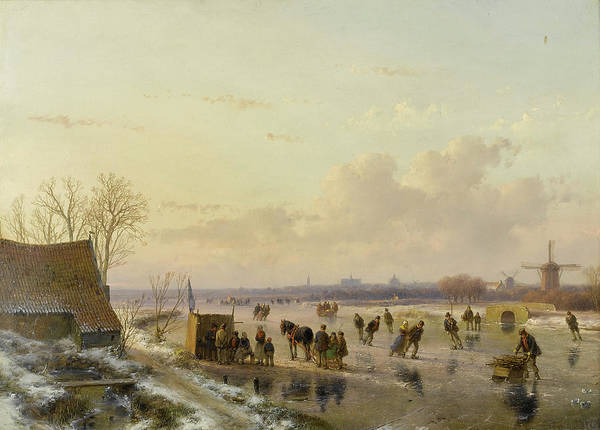 Figure Skater Painting - Winter Landscape With Skaters, Haarlem In The Distance by Andreas Schelfhout