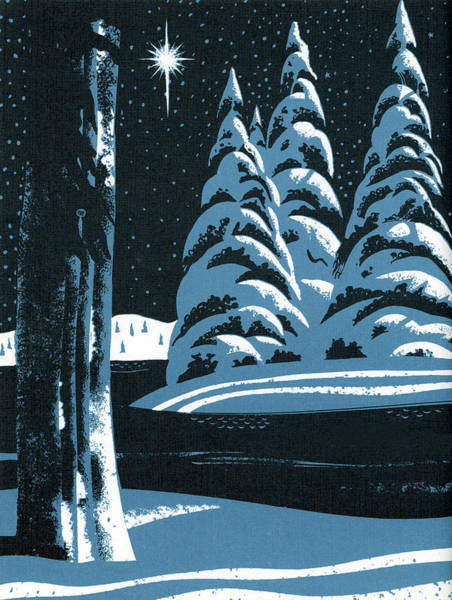 Archival Digital Art - Winter Landscape With Star by Graphicaartis