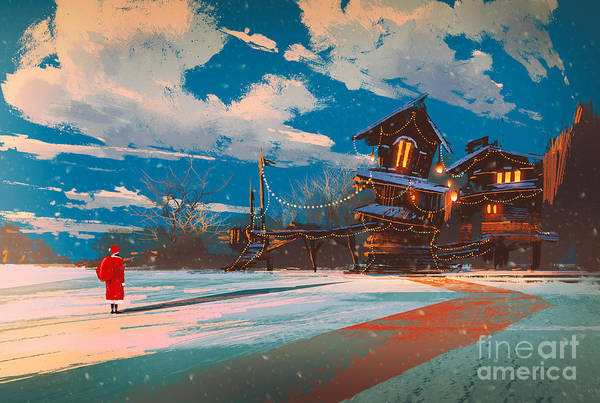 Wall Art - Digital Art - Winter Landscape With Wooden House At by Tithi Luadthong