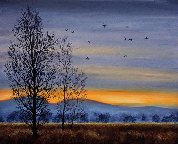 Wall Art - Painting - Winter Light Over A Meadow by Laura Iverson