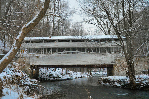 Wall Art - Photograph - Winter Morning In Valley Forge - Know Covered Bridge by Bill Cannon
