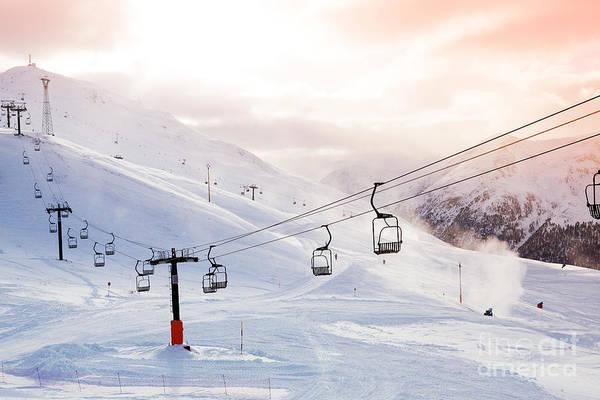 Elevators Wall Art - Photograph - Winter Mountains Panorama With Ski by Dinga