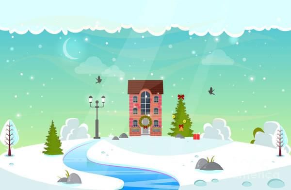 Wall Art - Digital Art - Winter Nature Landscape With River by Ya blue ko