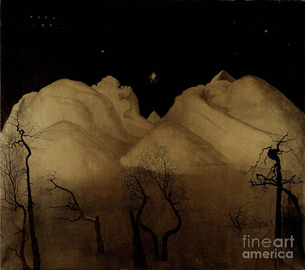 Wall Art - Pastel - Winter Night In The Mountains, Study by Harald Oscar Sohlberg